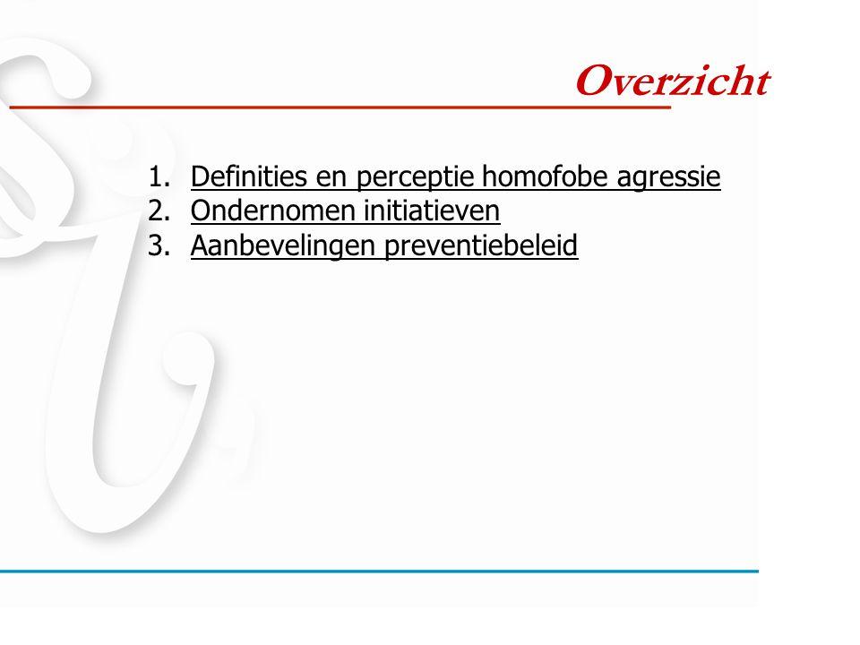 Overzicht 1.Definities en perceptie homofobe agressie 2.Ondernomen initiatieven 3.Aanbevelingen preventiebeleid