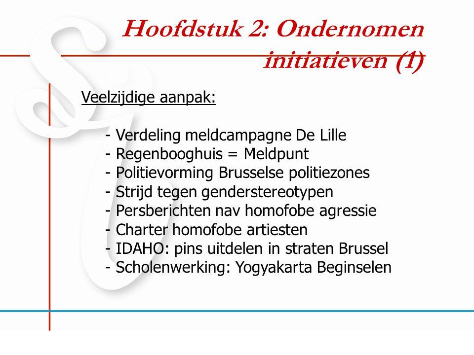 Hoofdstuk 2: Ondernomen initiatieven (1) Veelzijdige aanpak: - Verdeling meldcampagne De Lille - Regenbooghuis = Meldpunt - Politievorming Brusselse p
