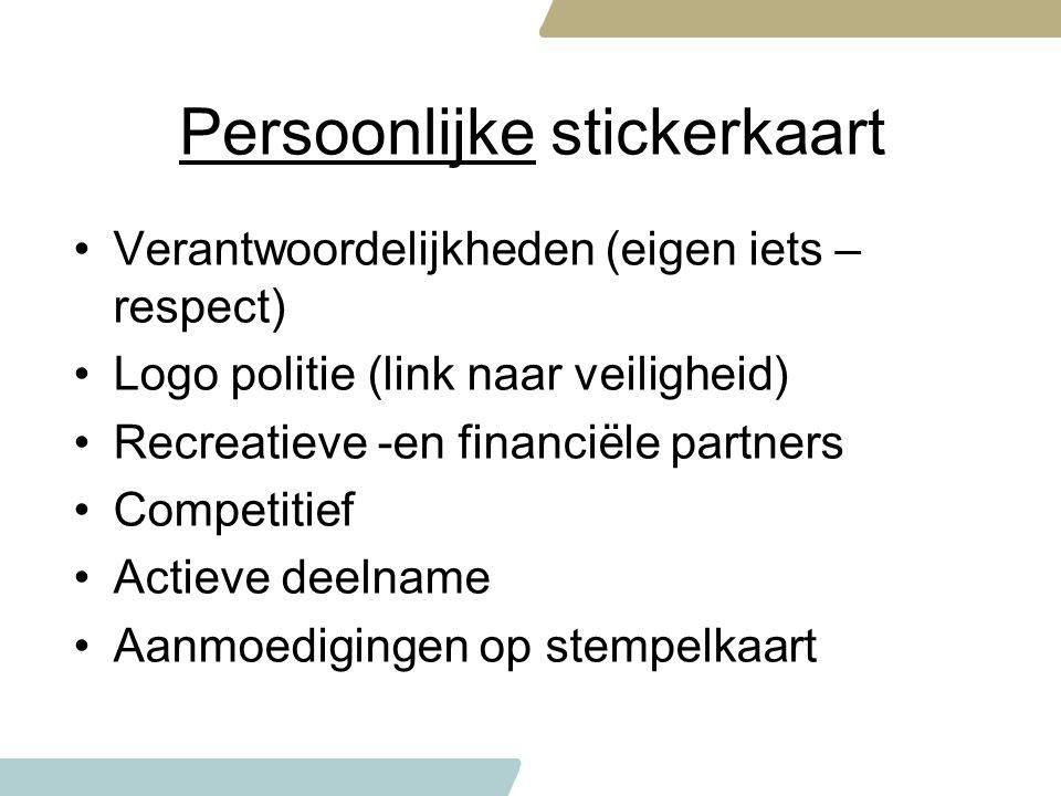Persoonlijke stickerkaart Verantwoordelijkheden (eigen iets – respect) Logo politie (link naar veiligheid) Recreatieve -en financiële partners Competi