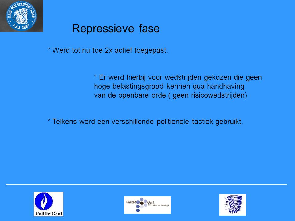 Repressieve fase – 1 e actie ° Rechercheurs van de drugsunit werden geposteerd in de probleemzone.