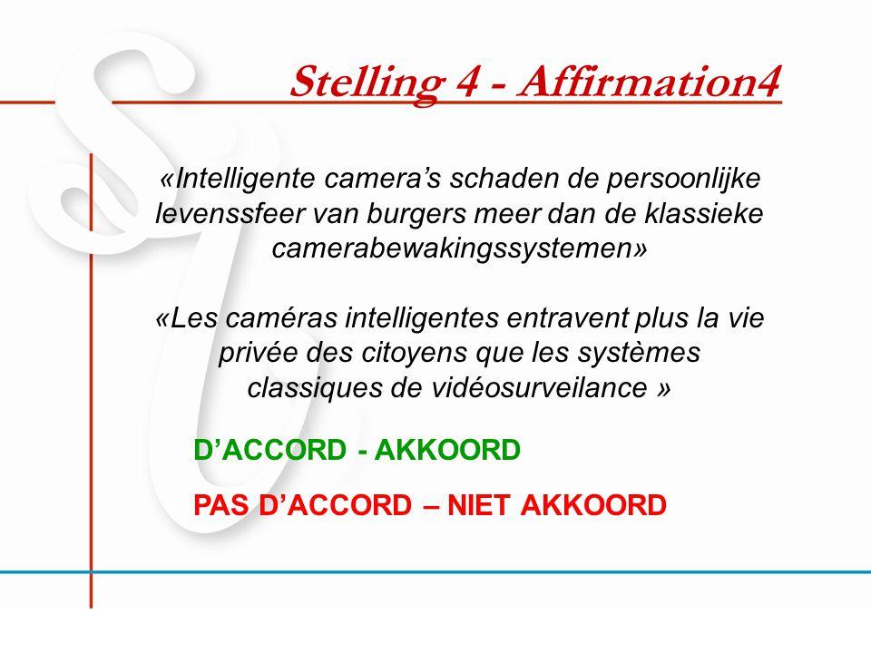 Stelling 4 - Affirmation4 «Intelligente camera's schaden de persoonlijke levenssfeer van burgers meer dan de klassieke camerabewakingssystemen» «Les c