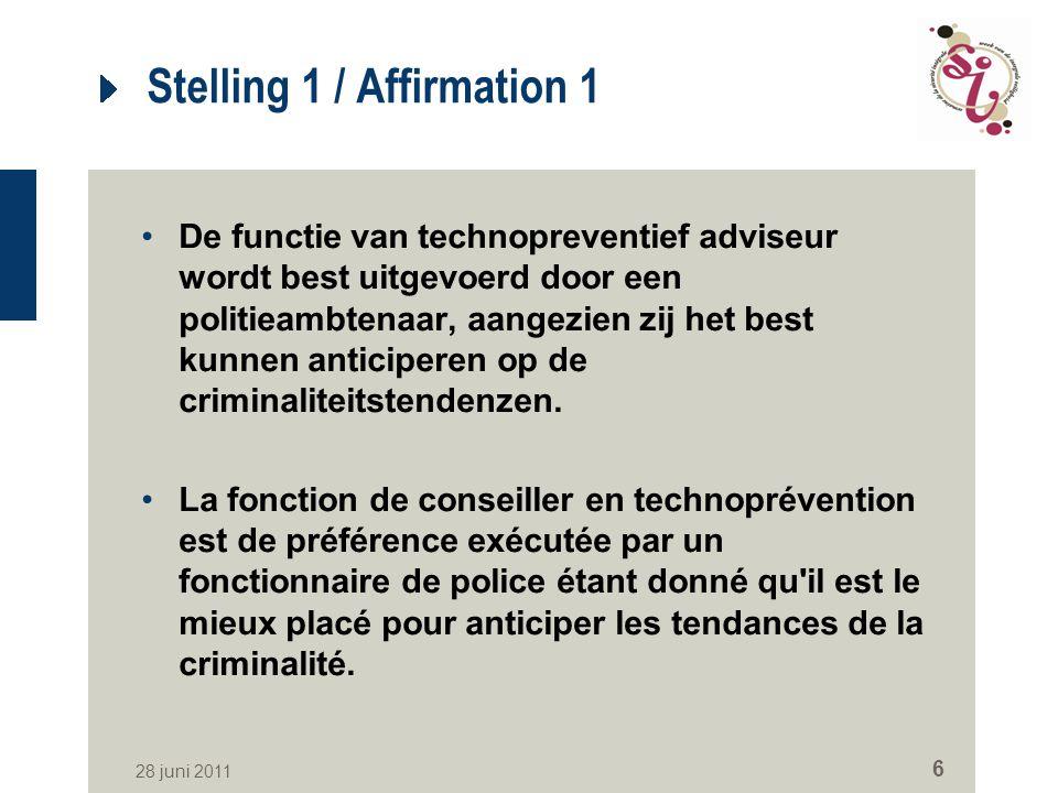 28 juni 2011 6 Stelling 1 / Affirmation 1 De functie van technopreventief adviseur wordt best uitgevoerd door een politieambtenaar, aangezien zij het best kunnen anticiperen op de criminaliteitstendenzen.
