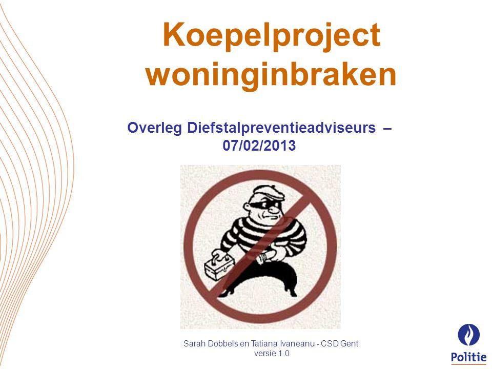 Koepelproject woninginbraken Overleg Diefstalpreventieadviseurs – 07/02/2013 Sarah Dobbels en Tatiana Ivaneanu - CSD Gent versie 1.0