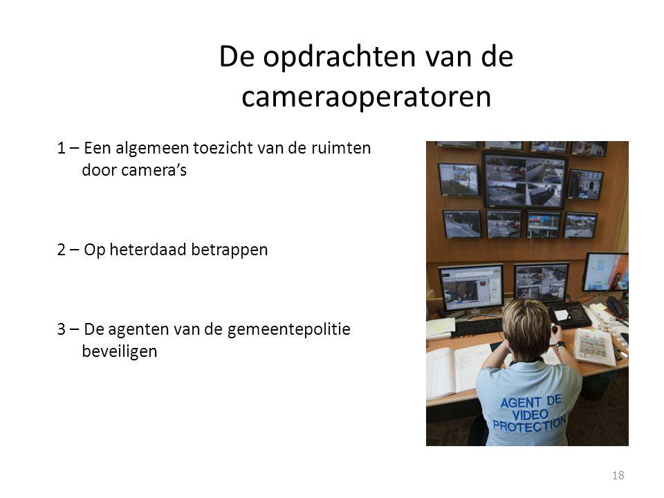 De opdrachten van de cameraoperatoren 1 – Een algemeen toezicht van de ruimten door camera's 2 – Op heterdaad betrappen 3 – De agenten van de gemeentepolitie beveiligen 18