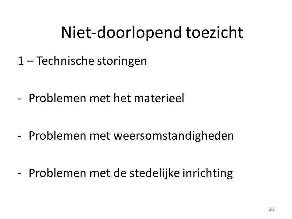 Niet-doorlopend toezicht 1 – Technische storingen -Problemen met het materieel -Problemen met weersomstandigheden -Problemen met de stedelijke inrichting 21