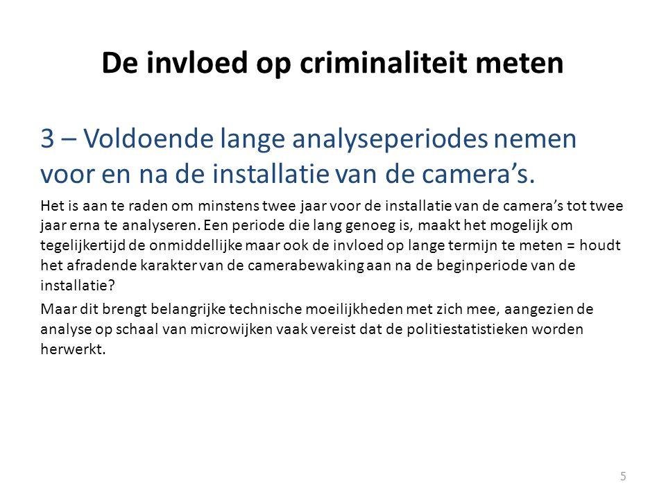 De invloed op criminaliteit meten 3 – Voldoende lange analyseperiodes nemen voor en na de installatie van de camera's.