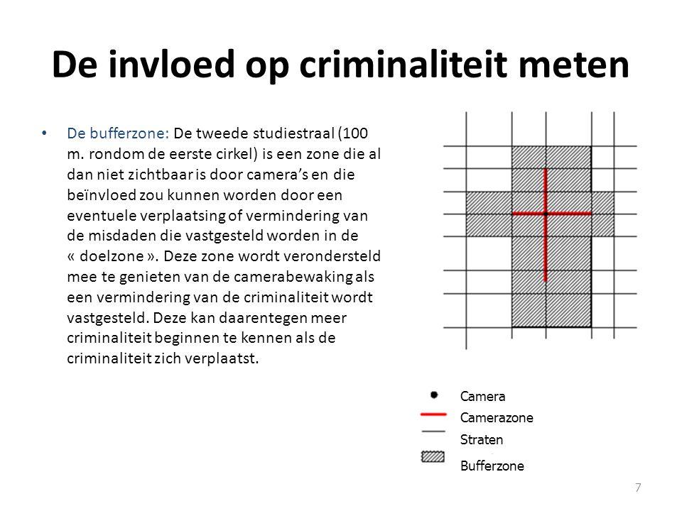De invloed op criminaliteit meten De bufferzone: De tweede studiestraal (100 m.