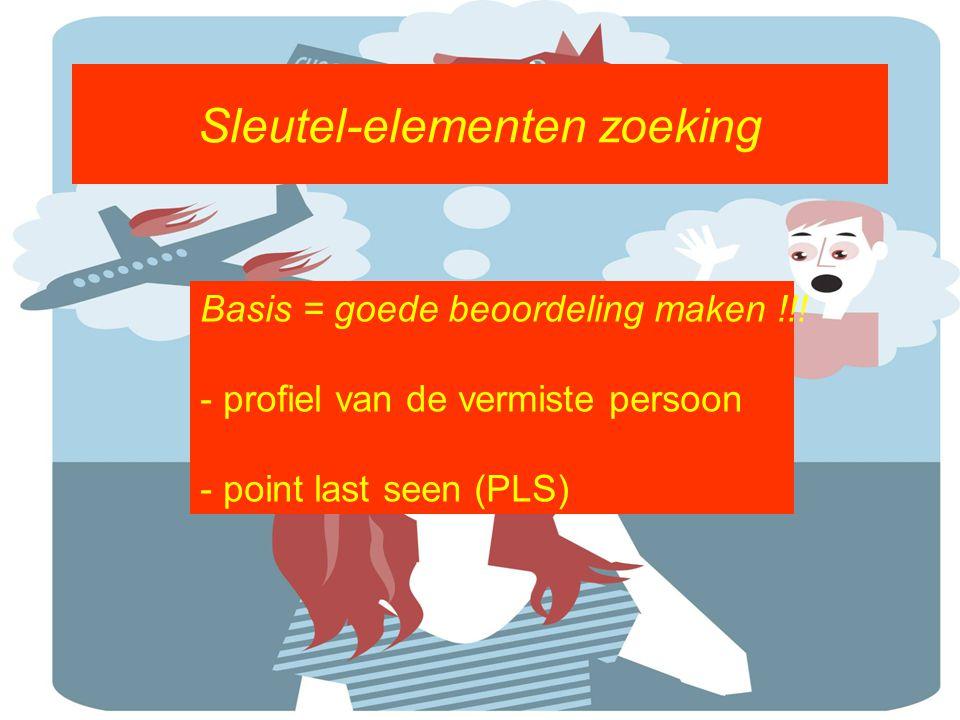 Sleutel-elementen zoeking Basis = goede beoordeling maken !!! - profiel van de vermiste persoon - point last seen (PLS)