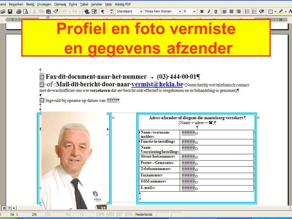 Profiel en foto vermiste en gegevens afzender