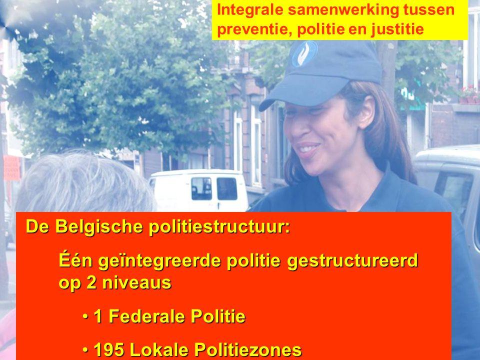 De Belgische politiestructuur: Één geïntegreerde politie gestructureerd op 2 niveaus 1 Federale Politie1 Federale Politie 195 Lokale Politiezones195 L