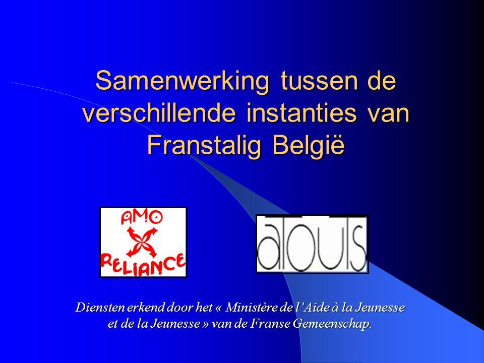 Samenwerking tussen de verschillende instanties van Franstalig België Diensten erkend door het « Ministère de l'Aide à la Jeunesse et de la Jeunesse » van de Franse Gemeenschap.
