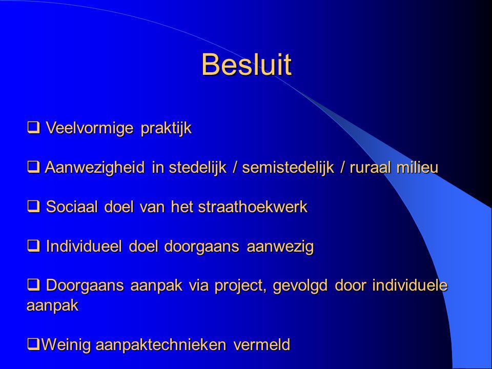  Veelvormige praktijk  Aanwezigheid in stedelijk / semistedelijk / ruraal milieu  Sociaal doel van het straathoekwerk  Individueel doel doorgaans