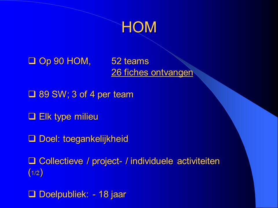  Op 90 HOM, 52 teams 26 fiches ontvangen  89 SW; 3 of 4 per team  Elk typemilieu  Elk type milieu  Doel: toegankelijkheid  Collectieve / project- / individuele activiteiten ( 1/2 )  Doelpubliek: - 18 jaar HOM