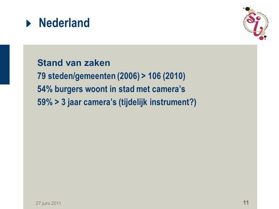 27 juni 2011 11 Nederland Stand van zaken 79 steden/gemeenten (2006) > 106 (2010) 54% burgers woont in stad met camera's 59% > 3 jaar camera's (tijdel