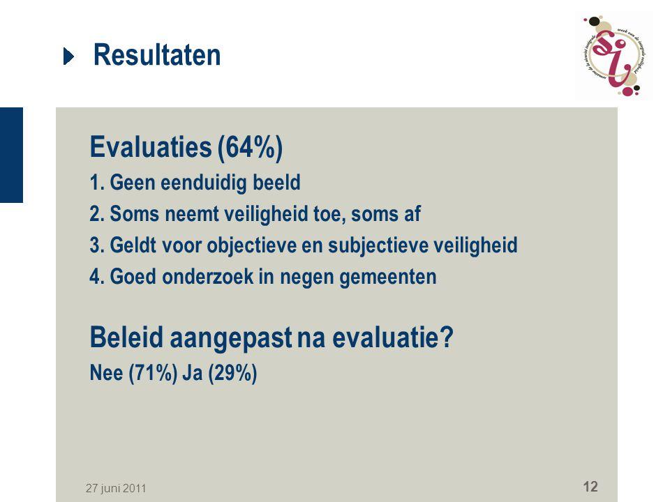 27 juni 2011 12 Resultaten Evaluaties (64%) 1. Geen eenduidig beeld 2. Soms neemt veiligheid toe, soms af 3. Geldt voor objectieve en subjectieve veil