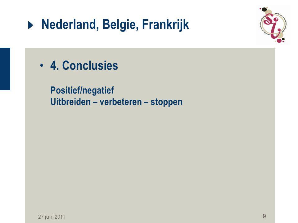 27 juni 2011 9 Nederland, Belgie, Frankrijk 4. Conclusies Positief/negatief Uitbreiden – verbeteren – stoppen
