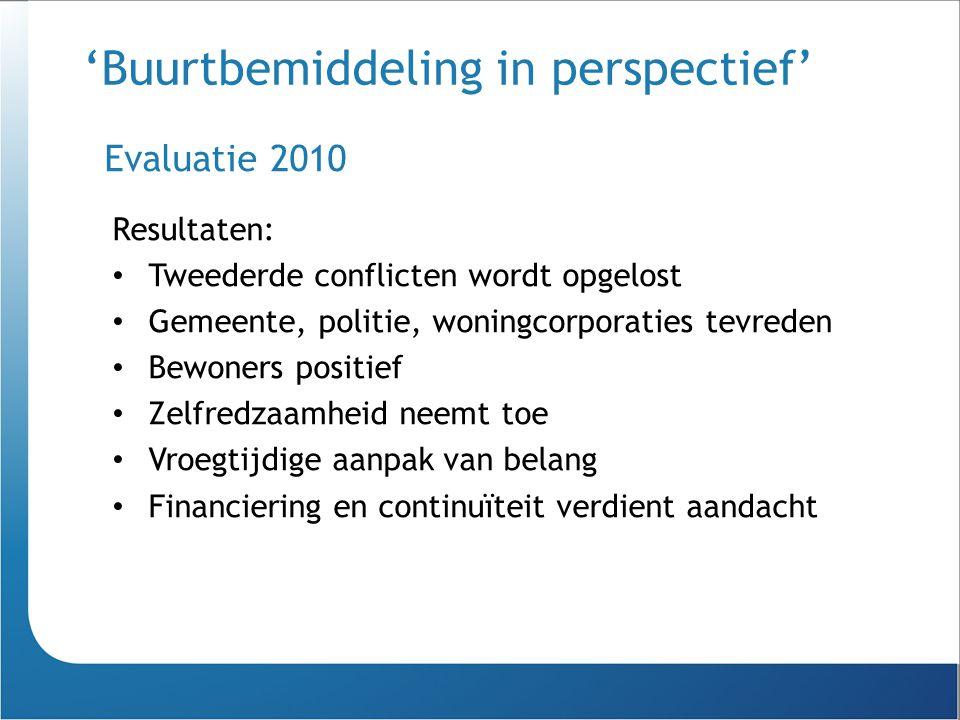 'Buurtbemiddeling in perspectief' Resultaten: Tweederde conflicten wordt opgelost Gemeente, politie, woningcorporaties tevreden Bewoners positief Zelf