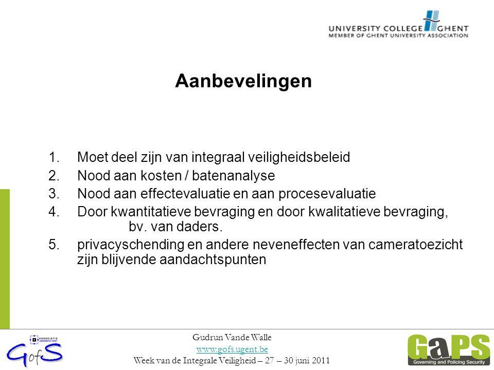 Aanbevelingen 1.Moet deel zijn van integraal veiligheidsbeleid 2.Nood aan kosten / batenanalyse 3.Nood aan effectevaluatie en aan procesevaluatie 4.Do