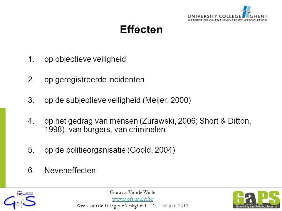 Effecten 1.op objectieve veiligheid 2.op geregistreerde incidenten 3.op de subjectieve veiligheid (Meijer, 2000) 4.op het gedrag van mensen (Zurawski,