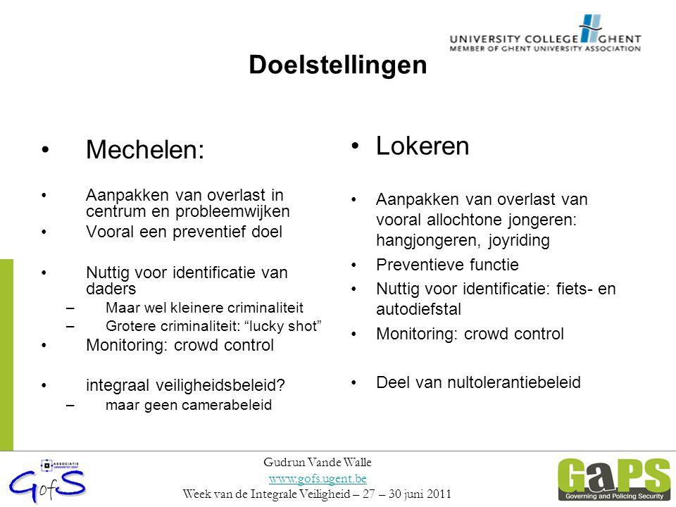 Doelstellingen Mechelen: Aanpakken van overlast in centrum en probleemwijken Vooral een preventief doel Nuttig voor identificatie van daders –Maar wel