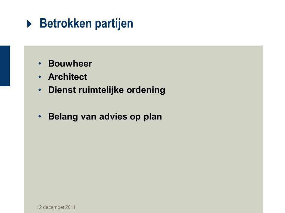 Betrokken partijen Bouwheer Architect Dienst ruimtelijke ordening Belang van advies op plan 12 december 2011