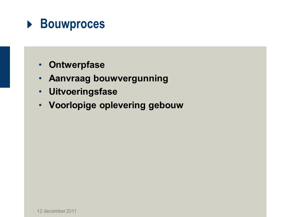 Bouwproces Ontwerpfase Aanvraag bouwvergunning Uitvoeringsfase Voorlopige oplevering gebouw 12 december 2011