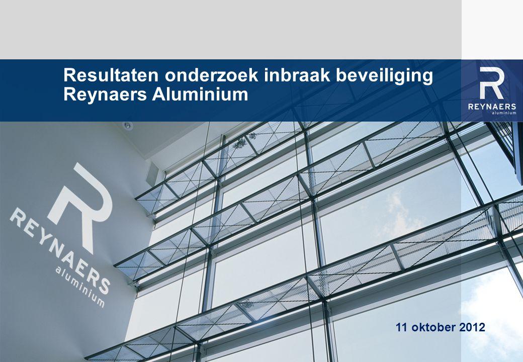 WE BRING ALUMINIUM TO LIFE Resultaten onderzoek inbraak beveiliging Reynaers Aluminium 11 oktober 2012
