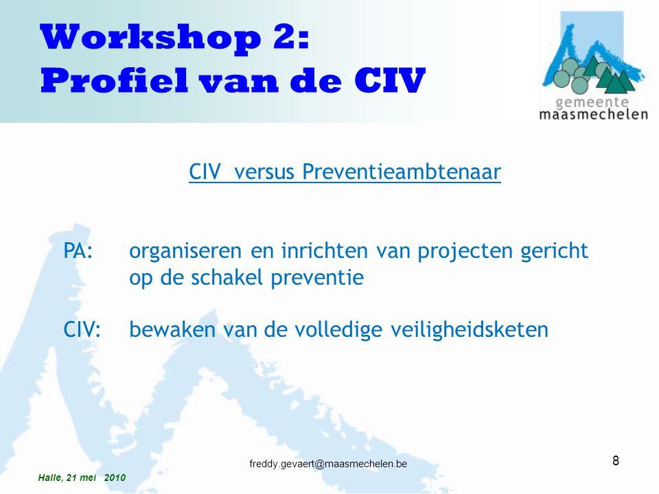 CIV versus Preventieambtenaar PA: organiseren en inrichten van projecten gericht op de schakel preventie CIV: bewaken van de volledige veiligheidskete