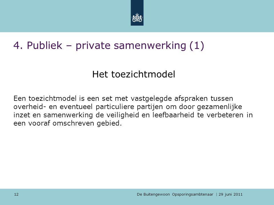 De Buitengewoon Opsporingsambtenaar | 29 juni 2011 12 4. Publiek – private samenwerking (1) Het toezichtmodel Een toezichtmodel is een set met vastgel