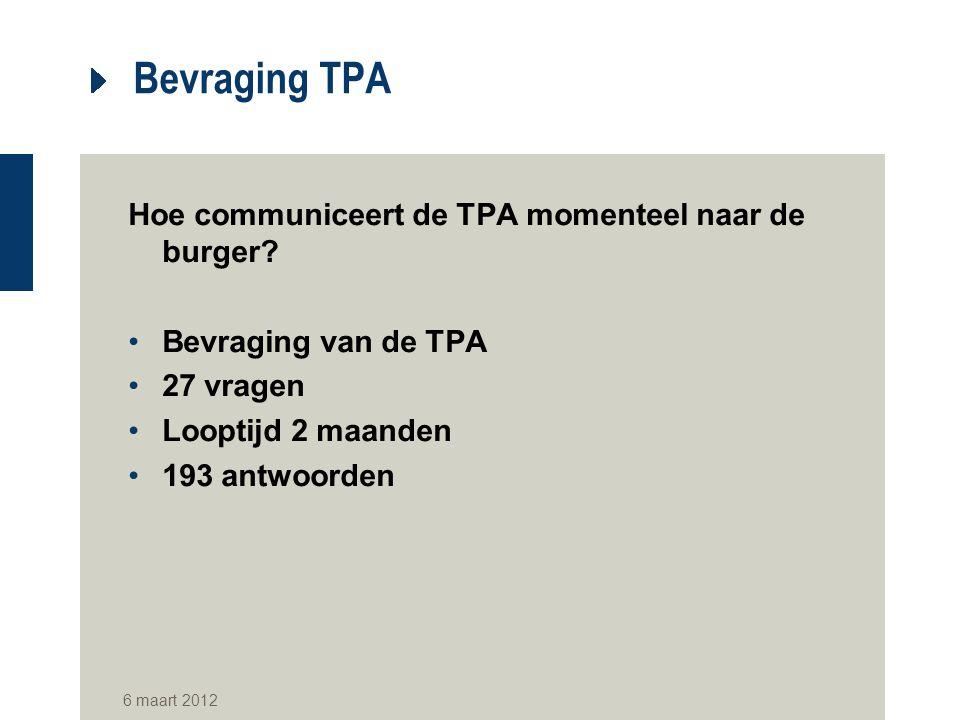 Bevraging TPA Hoe communiceert de TPA momenteel naar de burger? Bevraging van de TPA 27 vragen Looptijd 2 maanden 193 antwoorden 6 maart 2012