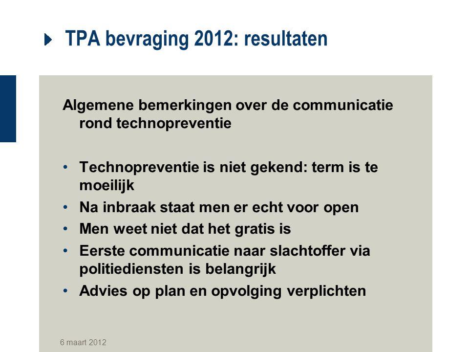 TPA bevraging 2012: resultaten Algemene bemerkingen over de communicatie rond technopreventie Technopreventie is niet gekend: term is te moeilijk Na i