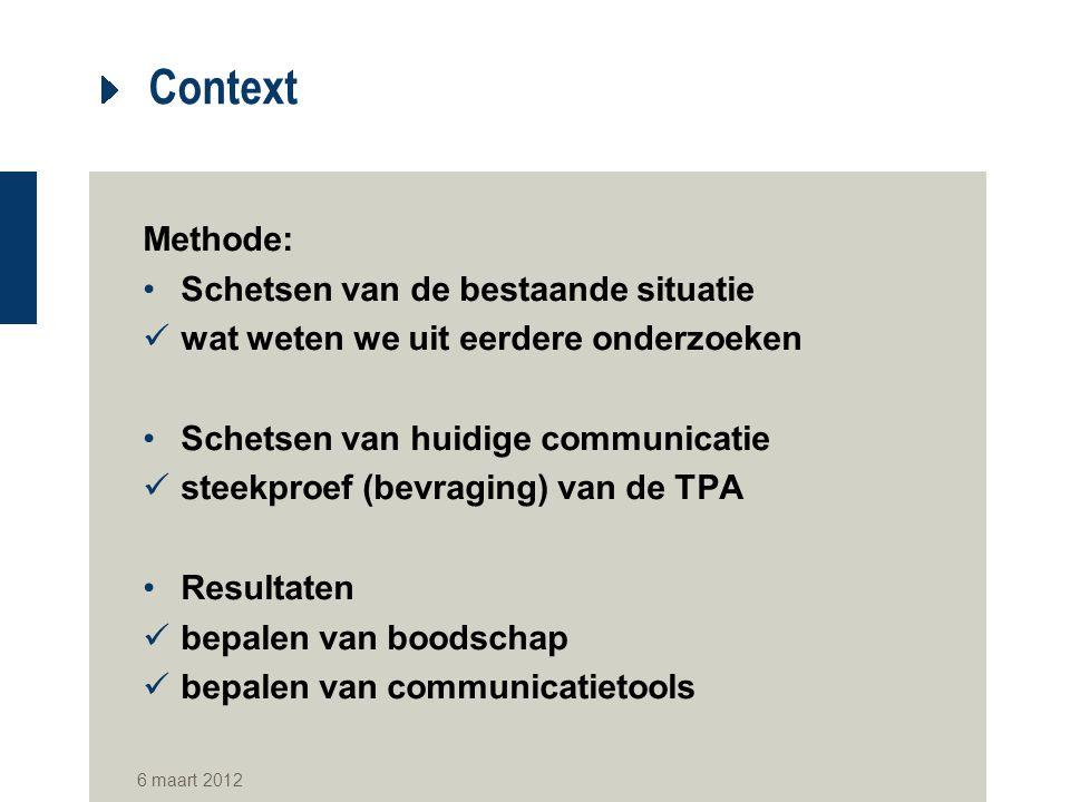 Context Methode: Schetsen van de bestaande situatie wat weten we uit eerdere onderzoeken Schetsen van huidige communicatie steekproef (bevraging) van