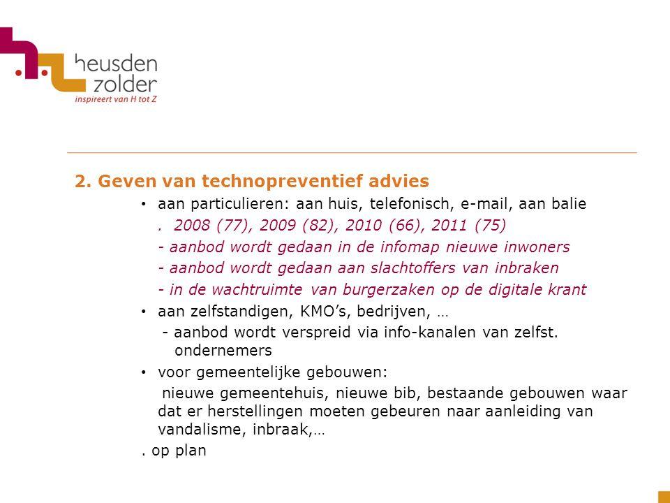 2. Geven van technopreventief advies aan particulieren: aan huis, telefonisch, e-mail, aan balie. 2008 (77), 2009 (82), 2010 (66), 2011 (75) - aanbod