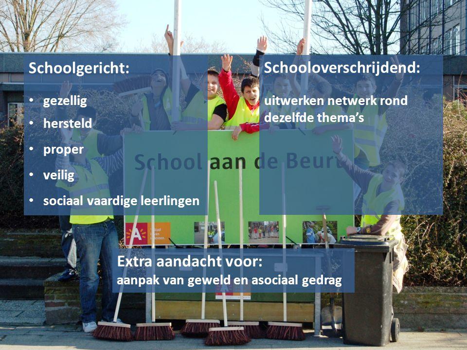 Schoolgericht: gezellig hersteld proper veilig sociaal vaardige leerlingen Schooloverschrijdend: uitwerken netwerk rond dezelfde thema's Extra aandach