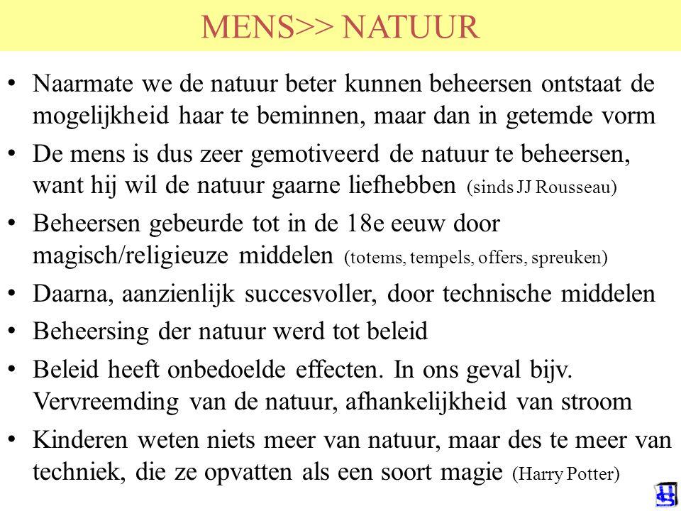 MENS>> NATUUR Naarmate we de natuur beter kunnen beheersen ontstaat de mogelijkheid haar te beminnen, maar dan in getemde vorm De mens is dus zeer gem