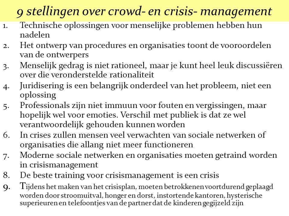 9 stellingen over crowd- en crisis- management 1.Technische oplossingen voor menselijke problemen hebben hun nadelen 2.Het ontwerp van procedures en o