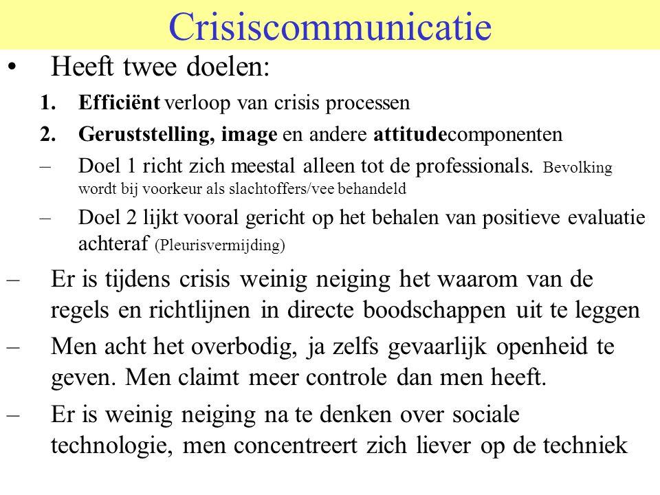 Crisiscommunicatie Heeft twee doelen: 1.Efficiënt verloop van crisis processen 2.Geruststelling, image en andere attitudecomponenten –Doel 1 richt zic