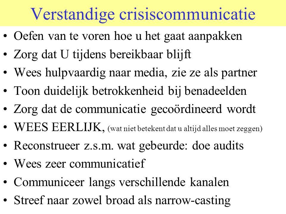 Verstandige crisiscommunicatie Oefen van te voren hoe u het gaat aanpakken Zorg dat U tijdens bereikbaar blijft Wees hulpvaardig naar media, zie ze al
