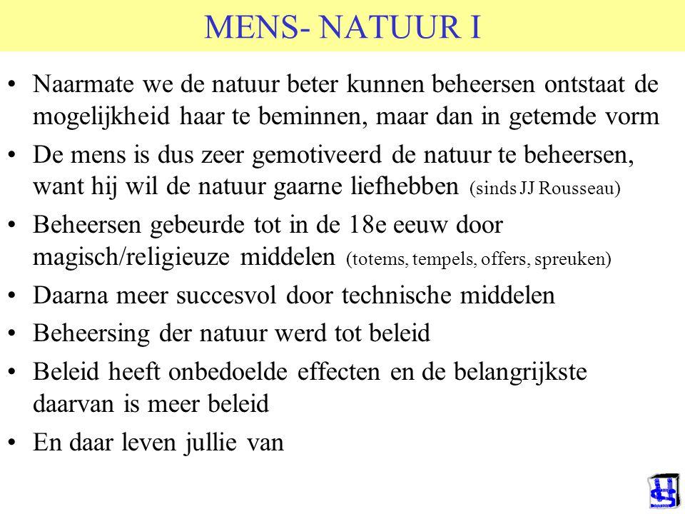 MENS- NATUUR I Naarmate we de natuur beter kunnen beheersen ontstaat de mogelijkheid haar te beminnen, maar dan in getemde vorm De mens is dus zeer ge