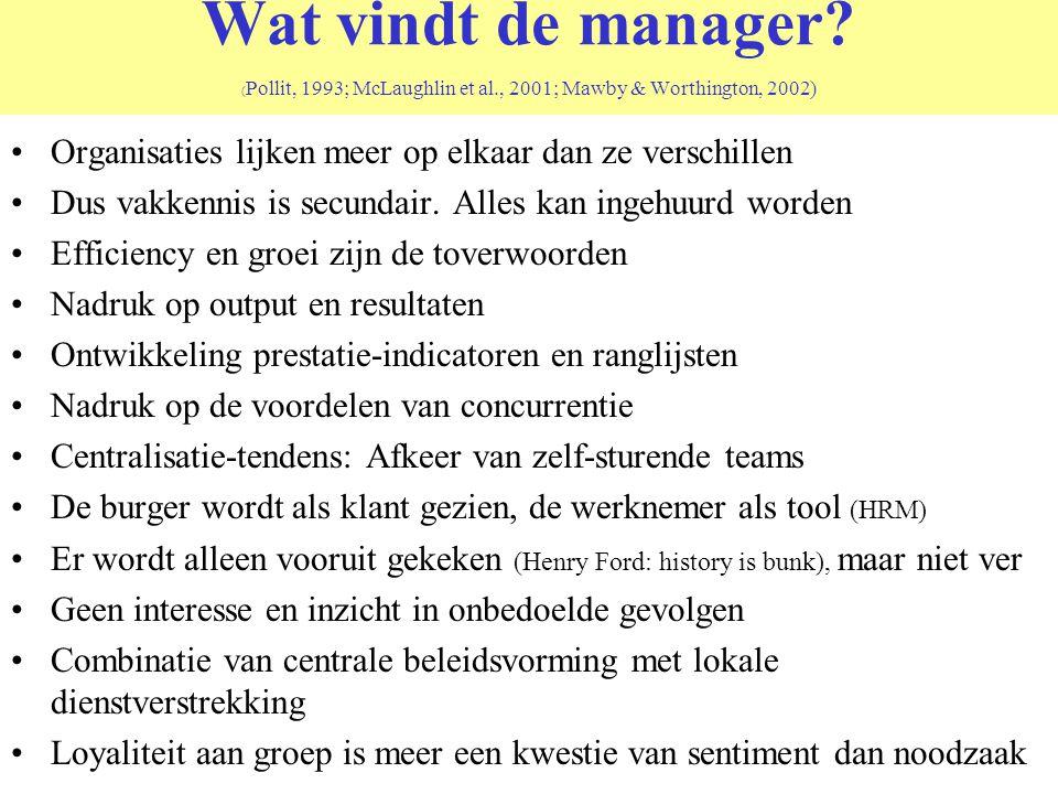 Wat vindt de manager? ( Pollit, 1993; McLaughlin et al., 2001; Mawby & Worthington, 2002) Organisaties lijken meer op elkaar dan ze verschillen Dus va