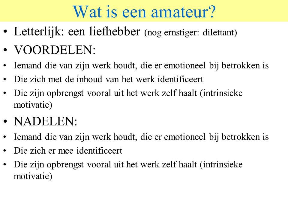 © 2006 JP van de Sande RuG Wat is een amateur? Letterlijk: een liefhebber (nog ernstiger: dilettant) VOORDELEN: Iemand die van zijn werk houdt, die er