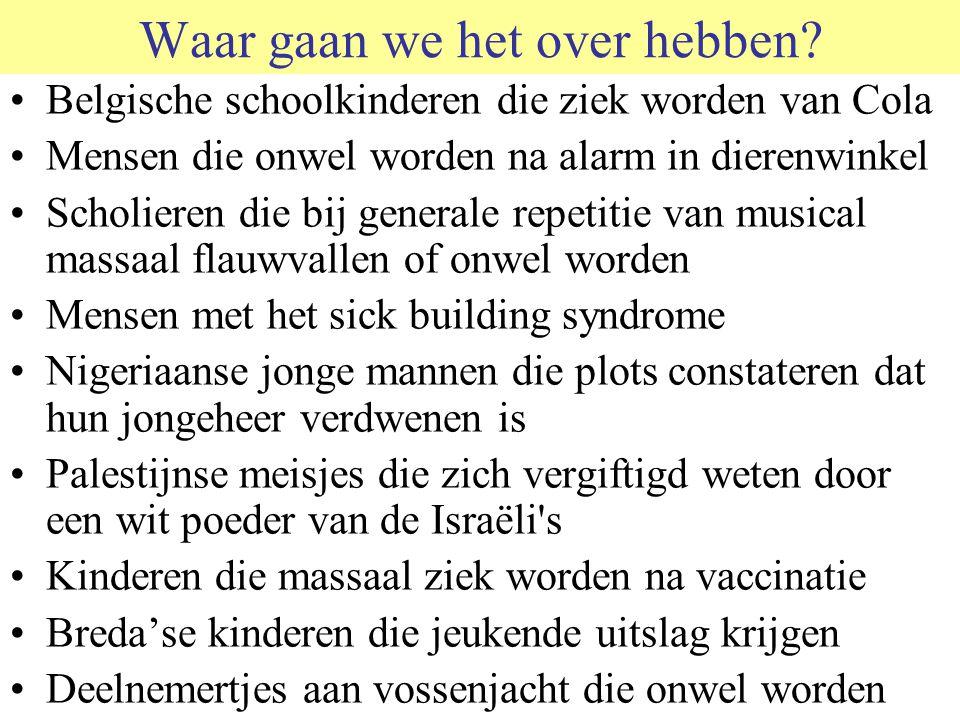 Waar gaan we het over hebben? Belgische schoolkinderen die ziek worden van Cola Mensen die onwel worden na alarm in dierenwinkel Scholieren die bij ge