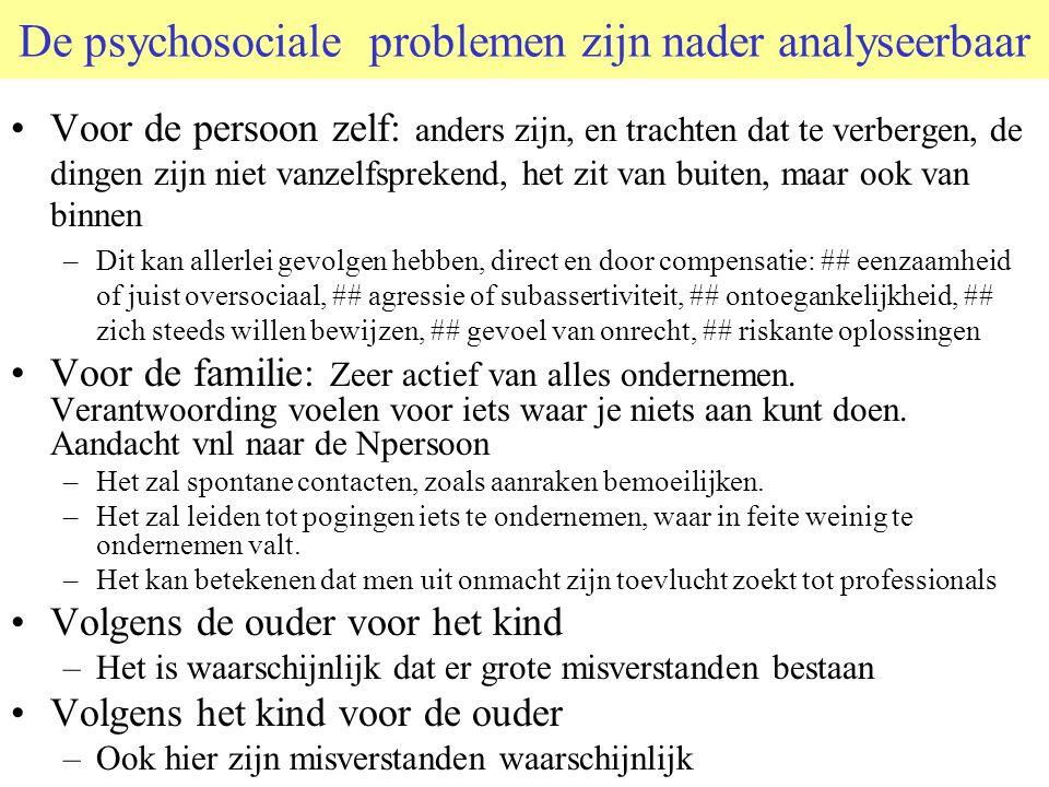 De psychosociale problemen zijn nader analyseerbaar Voor de persoon zelf: anders zijn, en trachten dat te verbergen, de dingen zijn niet vanzelfspreke