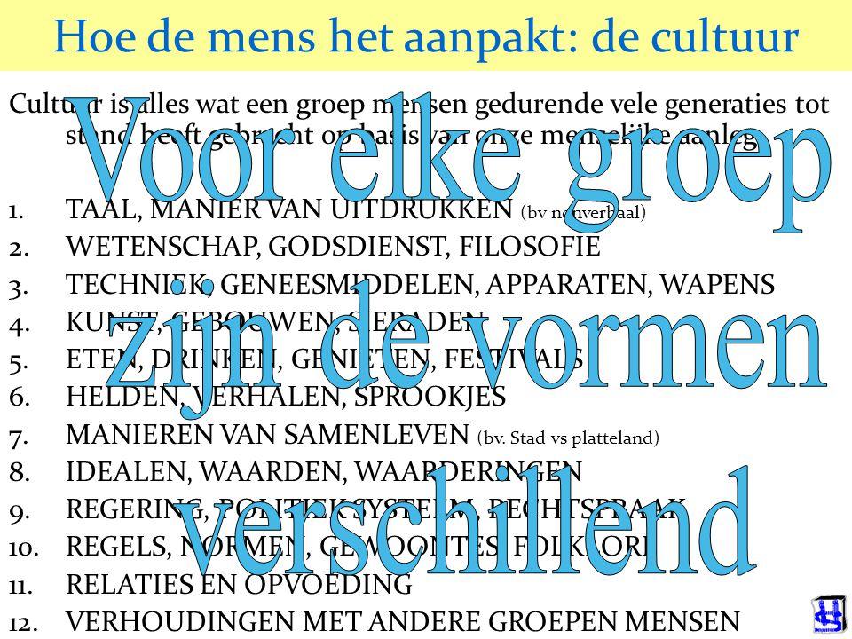 © 2006 JP van de Sande RuG Hoe de mens het aanpakt: de cultuur Cultuur is alles wat een groep mensen gedurende vele generaties tot stand heeft gebracht op basis van onze menselijke aanleg.
