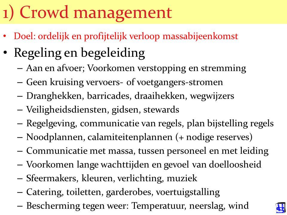 © 2006 JP van de Sande RuG 1) Crowd management Doel: ordelijk en profijtelijk verloop massabijeenkomst Regeling en begeleiding – Aan en afvoer; Voorkomen verstopping en stremming – Geen kruising vervoers- of voetgangers-stromen – Dranghekken, barricades, draaihekken, wegwijzers – Veiligheidsdiensten, gidsen, stewards – Regelgeving, communicatie van regels, plan bijstelling regels – Noodplannen, calamiteitenplannen (+ nodige reserves) – Communicatie met massa, tussen personeel en met leiding – Voorkomen lange wachttijden en gevoel van doelloosheid – Sfeermakers, kleuren, verlichting, muziek – Catering, toiletten, garderobes, voertuigstalling – Bescherming tegen weer: Temperatuur, neerslag, wind