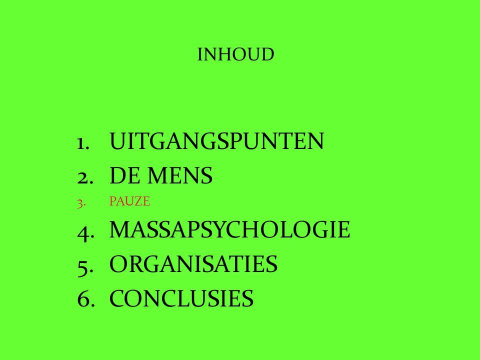 INHOUD 1.UITGANGSPUNTEN 2.DE MENS 3.PAUZE 4.MASSAPSYCHOLOGIE 5.ORGANISATIES 6.CONCLUSIES