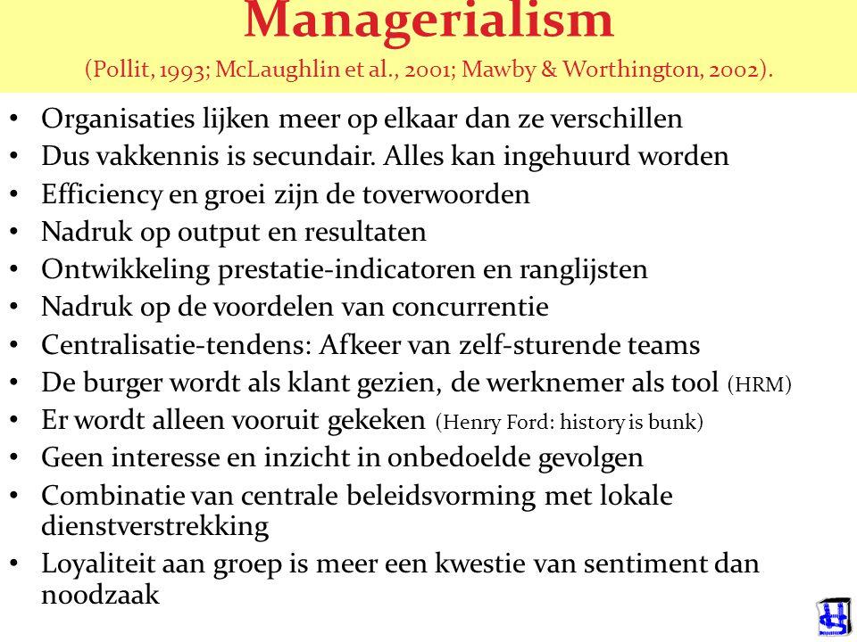 Managerialism (Pollit, 1993; McLaughlin et al., 2001; Mawby & Worthington, 2002).