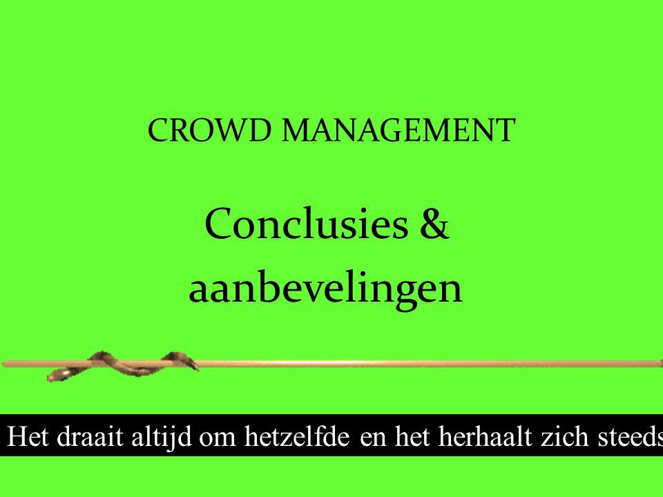 CROWD MANAGEMENT Conclusies & aanbevelingen Het draait altijd om hetzelfde en het herhaalt zich steeds