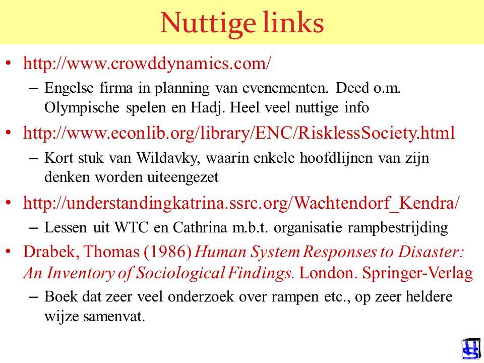 Nuttige links http://www.crowddynamics.com/ – Engelse firma in planning van evenementen.