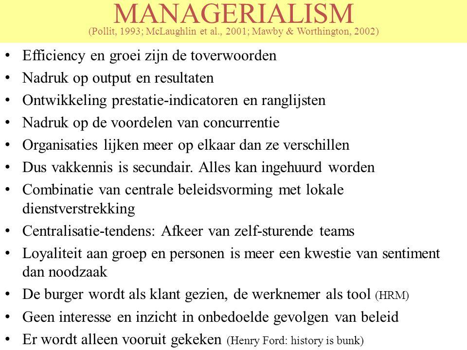MANAGERIALISM (Pollit, 1993; McLaughlin et al., 2001; Mawby & Worthington, 2002) Efficiency en groei zijn de toverwoorden Nadruk op output en resultat